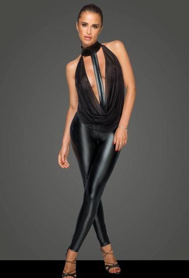 Wetlook Catsuit mit Tüll F223 – Noir Handmade