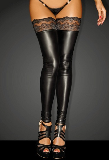 Powerwetlook Stockings mit Spitze SUPERSTAR